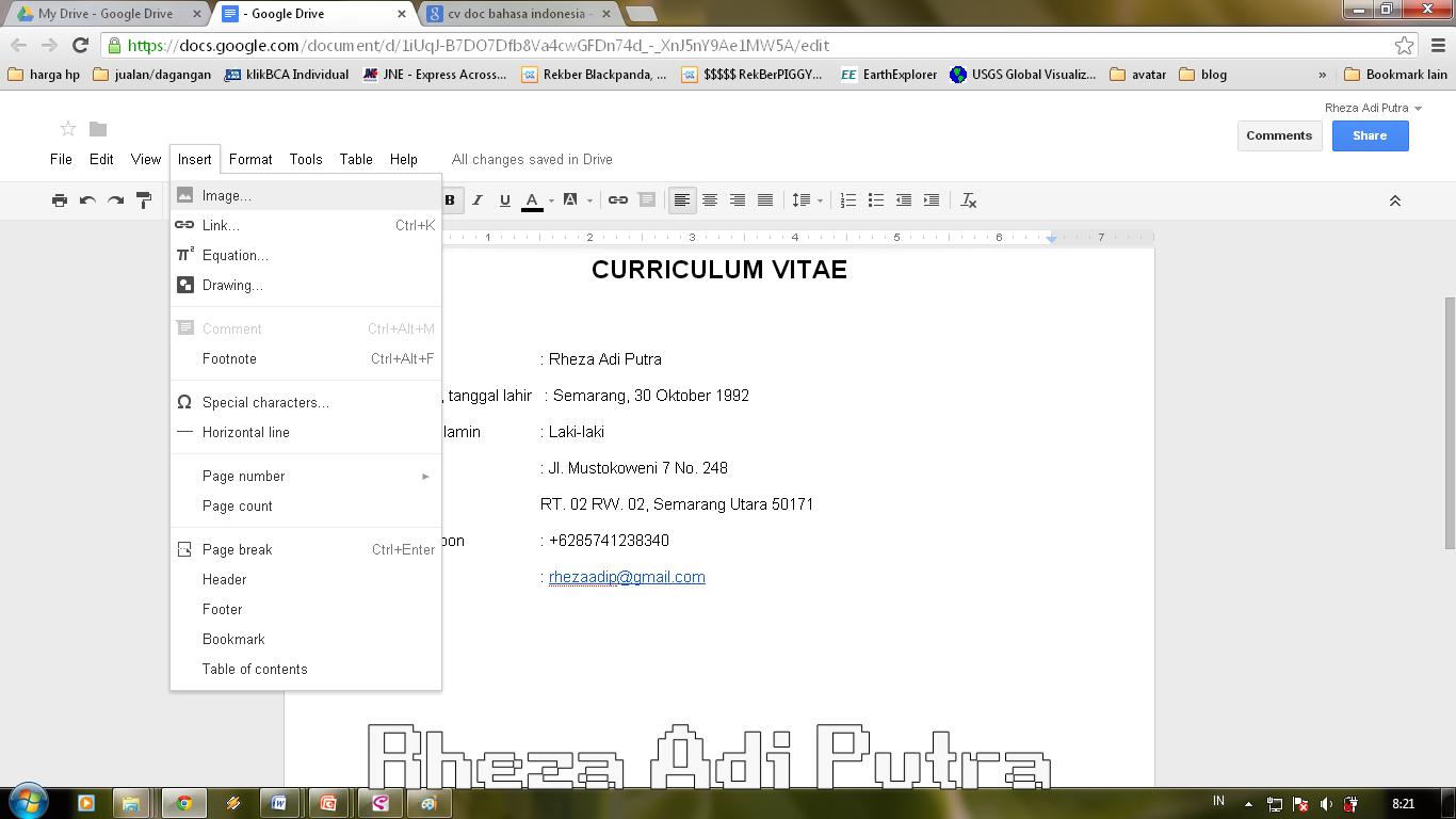 membuat cv pada google docs com tampilan disamping adalah tampilan untuk menambah gambar atau foto sebagai data pribadi dalam curriculum vitae yang dibuat ini klik insert > image